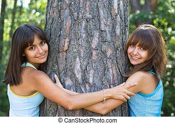 姉妹, 夏, 公園