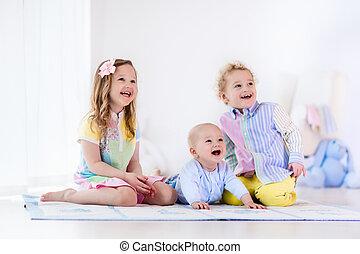 姉妹, 子供, 愛, 兄弟, 遊び, 家