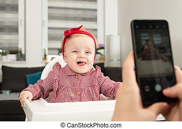 姉妹, 幸せ, ∥あるいは∥, 写真, 乳母, 母, 取られる, 女の子, 赤ん坊