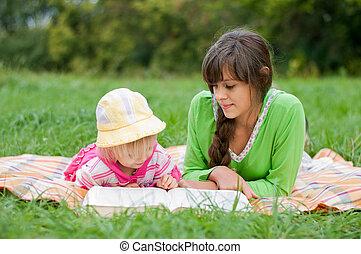 姉妹, 本, 読書, 2, 屋外で