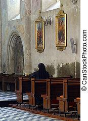 姉妹, 祈ること, 中, 教会