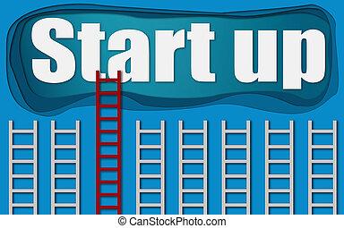 始めなさい, はしご, 単語, の上, 赤