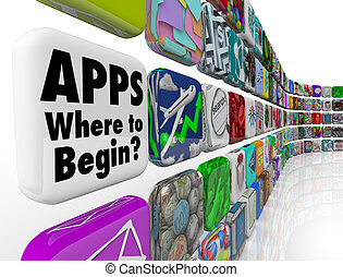始めなさい, 壁, 多数, app, apps, タイル, 選択, どこ(で・に)か, 混同