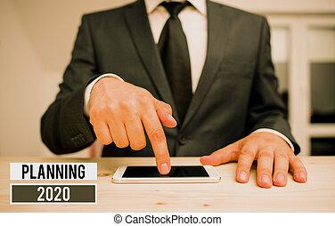 始めなさい, 心, 端, objectives., ビジネス, 写真, 提示, 位置, 用語, 長い間, 執筆, 概念, 計画, showcasing, 手, 2020.