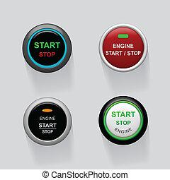 始めなさい, 止まれ, エンジン, ボタン