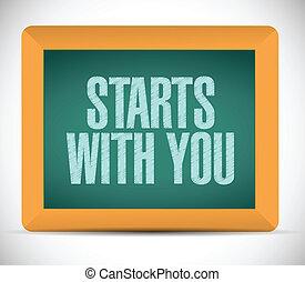 始める, あなた, デザイン, メッセージ, イラスト