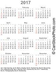 始める, カレンダー, 2017, アメリカ, 日曜日