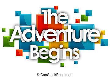 始める, 冒険, 長方形, 単語, カラードの背景