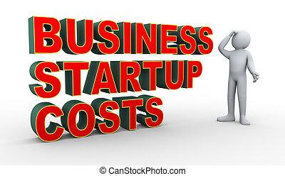 始動, 3d, 人, ビジネス, コスト, 混乱
