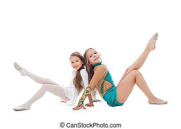姐妹, 微笑, 白色, 被隔离, 体操運動員