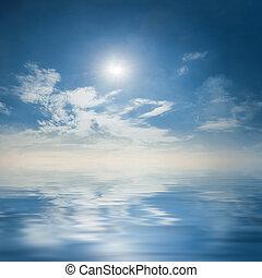 威严, 天空, 反映, 水