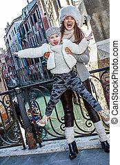 威尼斯, 女儿, 妈妈, 旅游者, 时间, 乐趣, 微笑, 有
