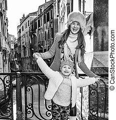 威尼斯, 女儿, 妈妈, 旅游者, 时间, 乐趣, 有