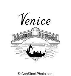 威尼斯, 著名的地方, 看法, 旅行, italy, 背景。, 城市, bridge.