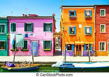 威尼斯, 里程碑, burano, 岛, 运河, 色彩丰富, 房子, 同时,, 船,