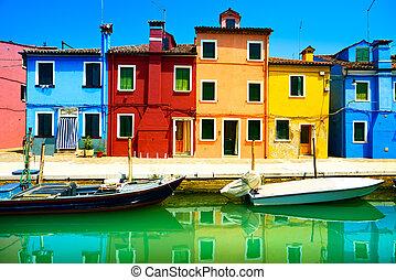 威尼斯, burano, 運河, 鮮艷, 島, 攝影, italy., 長, 房子, 界標, 小船, 暴露
