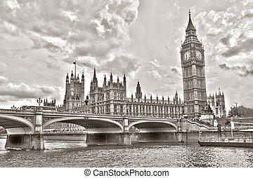 威斯敏斯特 橋梁, 由于, 大本鐘, 倫敦, 英國