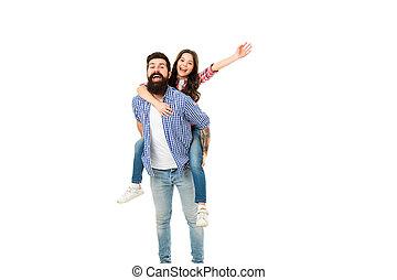 娘, わずかしか, piggyback., activities., 父, 届きなさい, 写真, 楽しみ, 父, 持ちなさい, 一緒に。, 子供, 時間, day., 幸せ, 私, 友人, studio., 楽しみなさい, super., 家族, 面白い