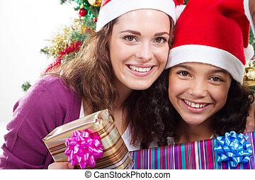娘, クリスマス, 母
