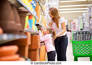 娘, スーパーマーケット, 母