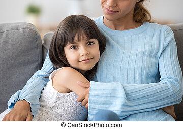 娘, モデル, 包含, 見る, カメラ, 母