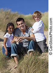 娘, モデル, &, 息子, レース, 父, 混ぜられた, 浜