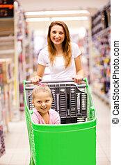娘, モール, 買い物, 母