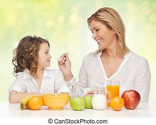 娘, 健康, 母, 朝食を食べること, 幸せ
