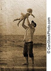 娘, 写真, イメージ, 父, 休暇, sea., 古い, style.