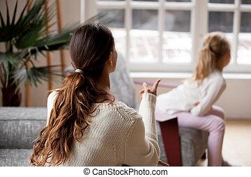 娘, 叱ること, 子供, punishme, 譴責, 母, 後部光景