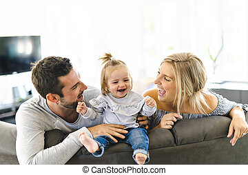 娘, 家族, ソファー, 若い, 赤ん坊, 家