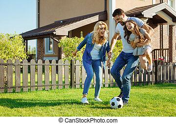 娘, 家族, フットボール, 父, 届く, 遊び, 情事