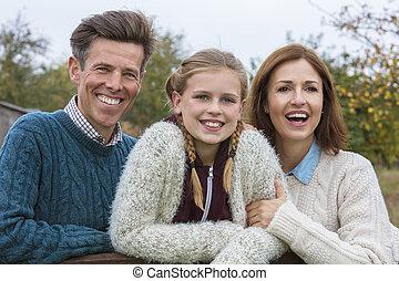 娘, 家族, 父, 外, 母, 幸せ