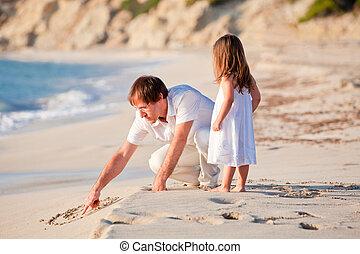 娘, 家族, 父, 楽しみ, 浜, 持つこと, 幸せ