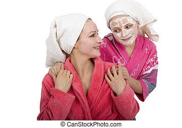 娘, 家族, 美しさ, 作りなさい, 美容師, マスク, 隔離された, 顔, 皮膚, mask., 待遇, 背景, 母, bathroom., 白