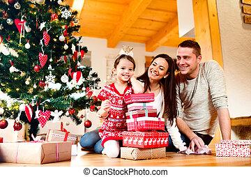 娘, 家系, 若い, home., クリスマス