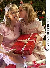 娘, 寄付, 木, 母, 前部, クリスマスプレゼント