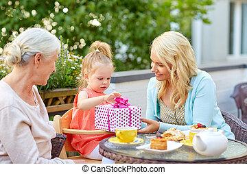 娘, 寄付, 母, カフェ, プレゼント, 幸せ
