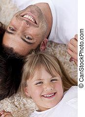 娘, 床, 肖像画, 父, 一緒に, 頭