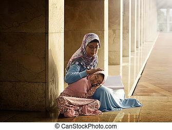 娘, 彼女, muslim, コーラン, 母, 教えなさい, 読書
