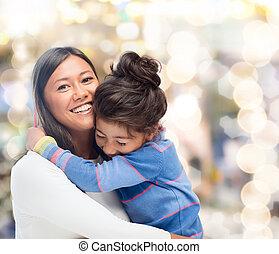 娘, 抱き合う, 母
