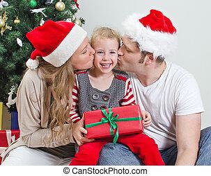 娘, 木。, 親, 前部, 接吻, クリスマス