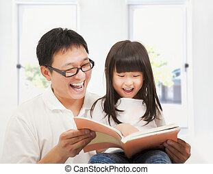 娘, 本, 彼女, 父, 微笑, 家, 読書
