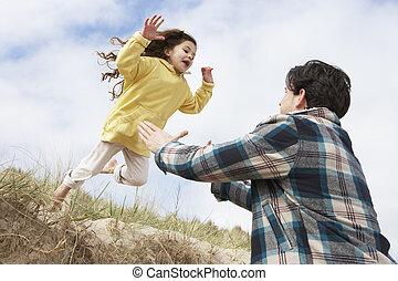 娘, 父, 一緒に, 楽しみ, 浜, 持つこと