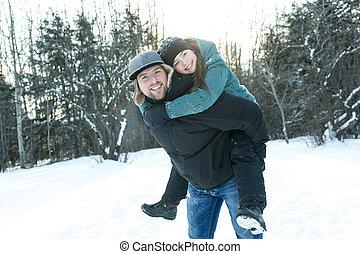 娘, 父, 若い, 冬