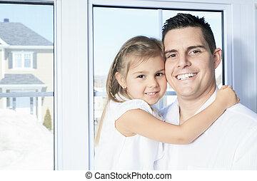 娘, 父, 若い, 窓, 終わり, 幸せ