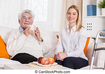 娘, 病気, 古い, 父