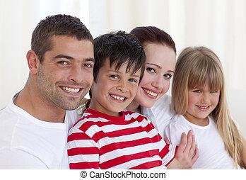 娘, 肖像画, ソファー, 親, 息子, 一緒に, モデル