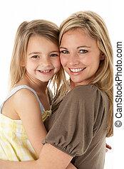 娘, 若い, 抱き合う, スタジオ, 母, 肖像画