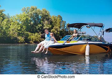娘, 談笑する, 父, 弓, 気持が良い, ボート
